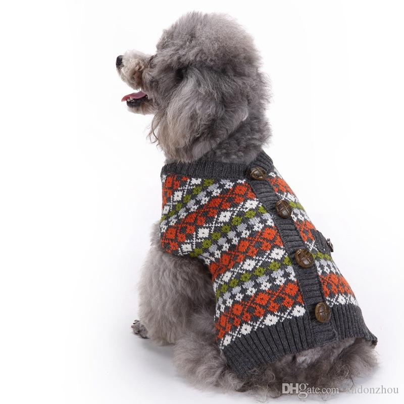 2019 European Style Crochet Dog Sweaters Clothes Costumes Fall