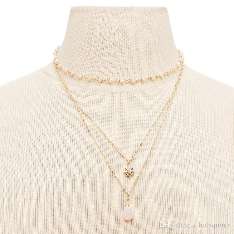 3 couches de soleil pendentif collier minimaliste acrylique collier de perles de bijoux mode or argent chaîne de couleurs collier pour les femmes