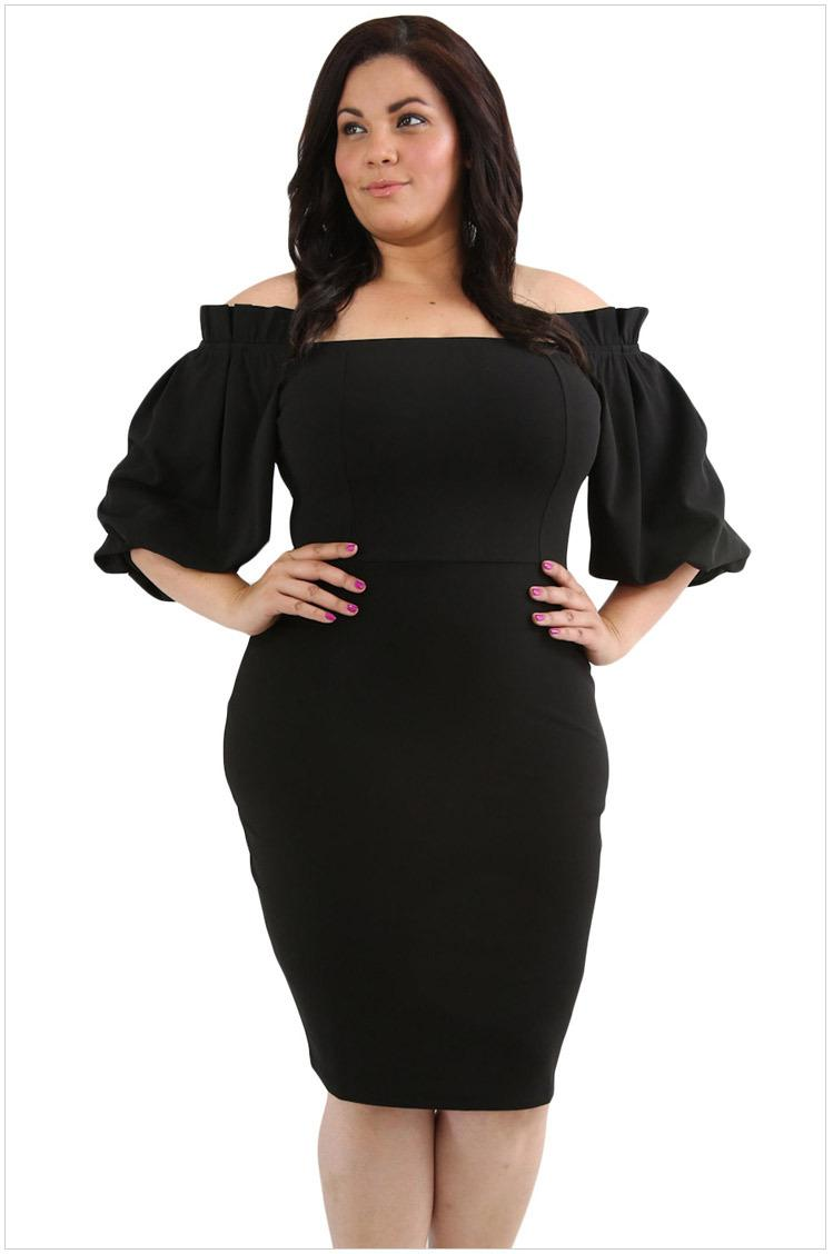 Plus Size Elegant Party Dress Black Women Sexy Midi Fashion Autumn ...