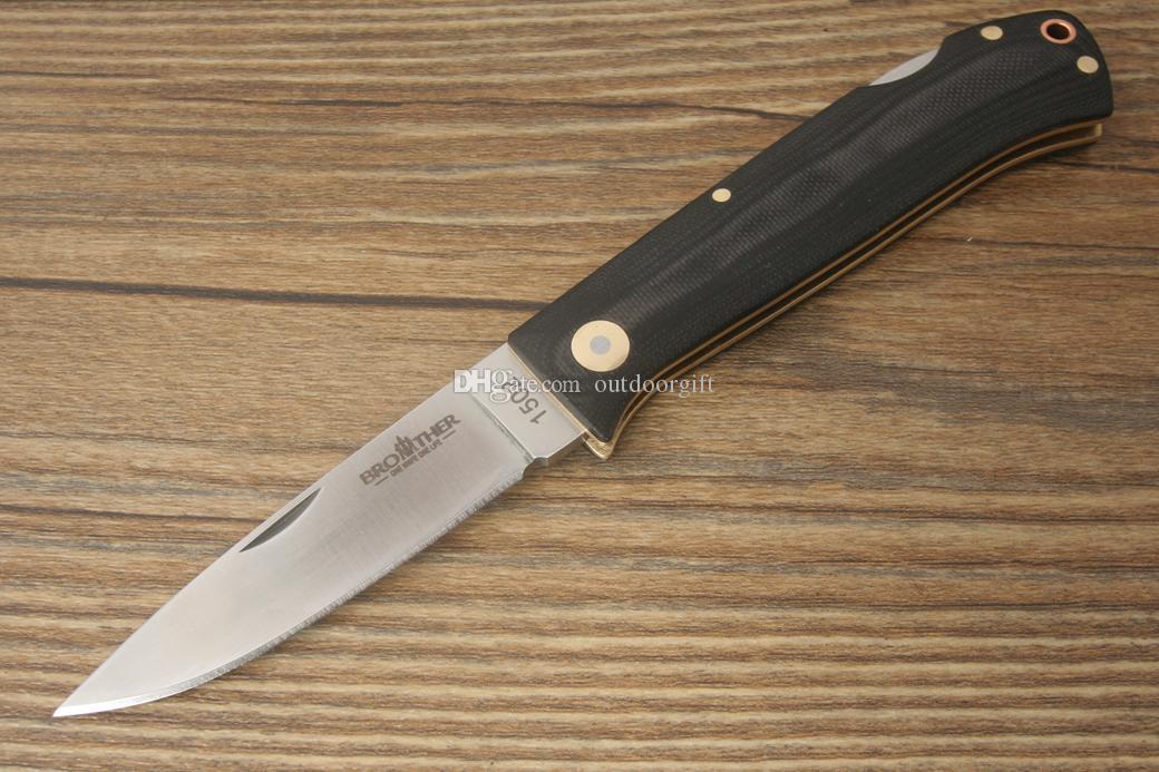 Brother 1502 Folding Knife Tactical Outdoor Survival Camping Bushcraft Pocket Knife Back Lock 440C Blade G10 Handle