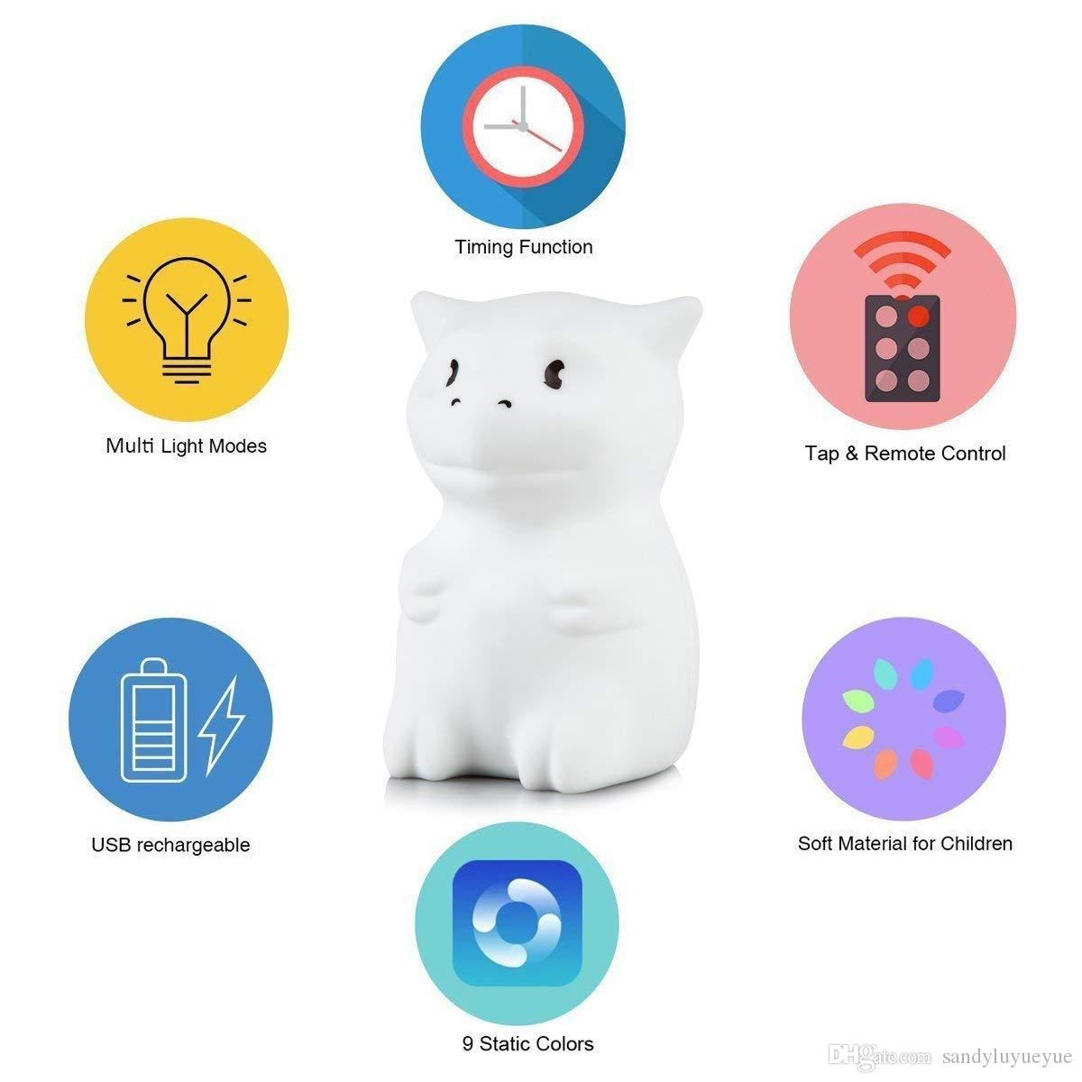 71f9284de4 2019 LED Nursery Night Lights For Kids: Cute Animal Silicone Baby Night  Light With Touch Sensor And Remote Portable And Rechargeable Infant Or From  ...