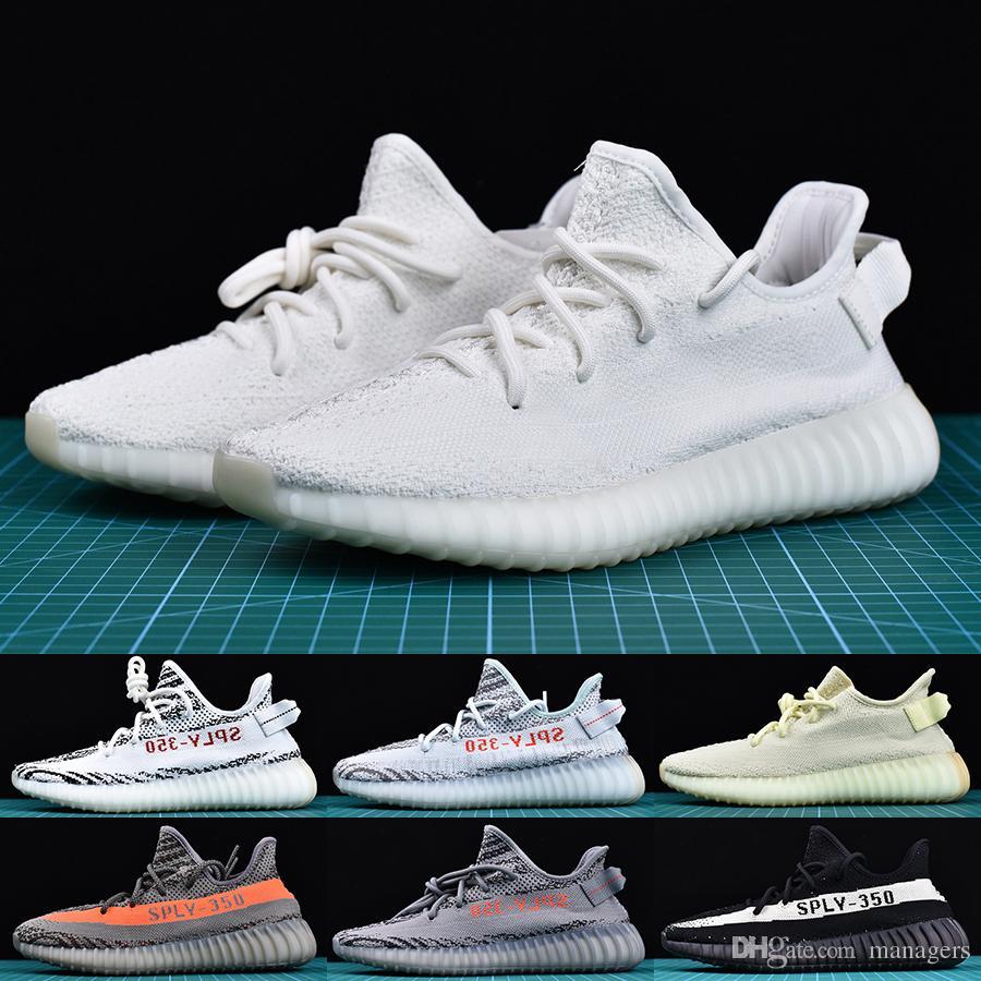 new arrival 692b3 414fc Acheter Adidas Yeezy Boost 350 V2 Chaussures Avec La Boîte De Course Au  Beurre De Sésame Pour Hommes Zebra Cream Blanc Beluga 2.0 Baskets Kanye  West ...