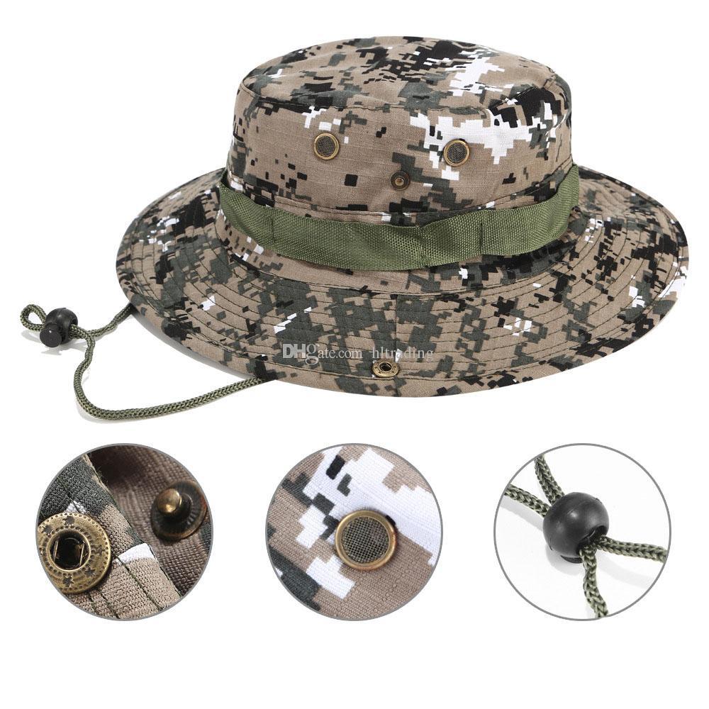 Bucket Hats Cap Sniper Camuflagem Acessórios Do Exército Militar Caminhadas Chapéus selva Escalada cap 17 cores grandes meninos Chapéu do pára-sol C4329