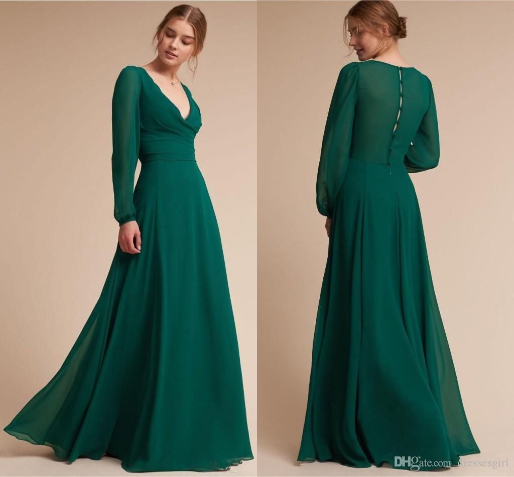 15f5237fd7e Simple Style Hunter Green Sexy Prom Dresses Vintage V Neck Chiffon Floor  Length Button Back Long Evening Gowns Cheap Prom Dress Cheap Prom Dress  Sale From ...