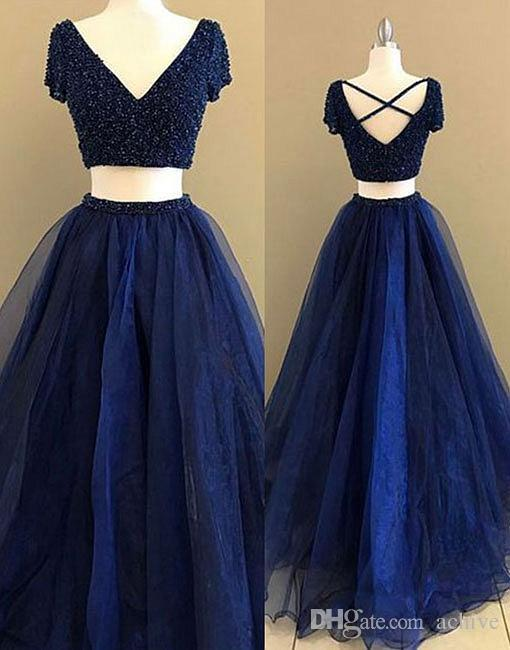 dae8547b7c Real V Neck Two Pieces Prom Dresses 2018 Beaded Applique Lace Navy Blue  Evening Gowns Long Party Dresses Homecoming Gowns Kids Prom Dresses Lace  Prom ...