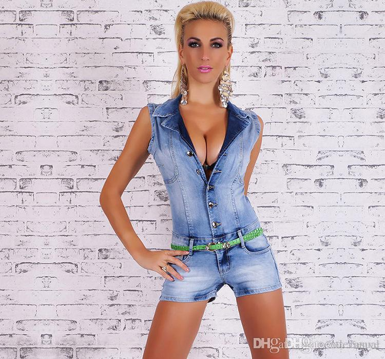 5ec1fe005a2 2019 Women Single Breasted Jean Rompers Summer Fashion Jumpsuits Sexy Turn  Down Collar Shorts From Bunye