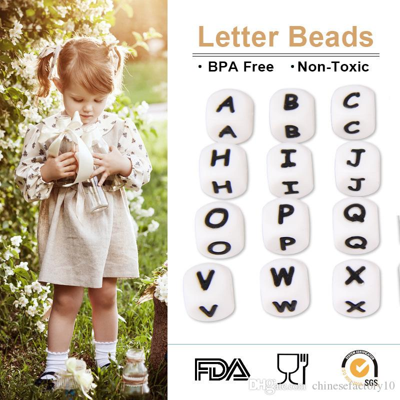new 12mm food grade silicone alphabet bands diy silicone chewing teething necklace teether beads letter beads pendants accessories chewing teething diy toy