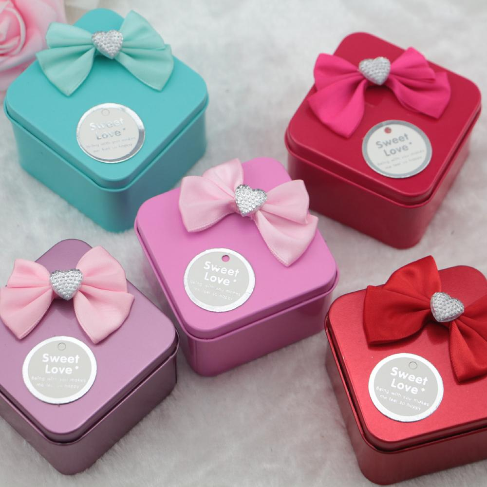 European Wedding Love Heart Bowknot Tinplate Candy Box Square Shaped ...