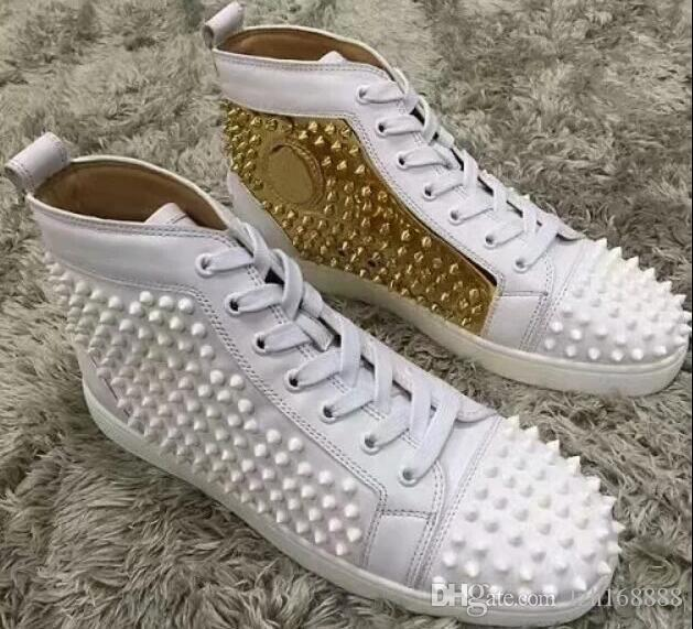2019 Red Bottom High Top Men Gold Mixed Color Shoes Spikes Sneakers Luxury  Designer Rivets Flat Walking Shoes Size 36 47 Comfortable Shoes Discount  Shoes ... 39fccad1b6a2