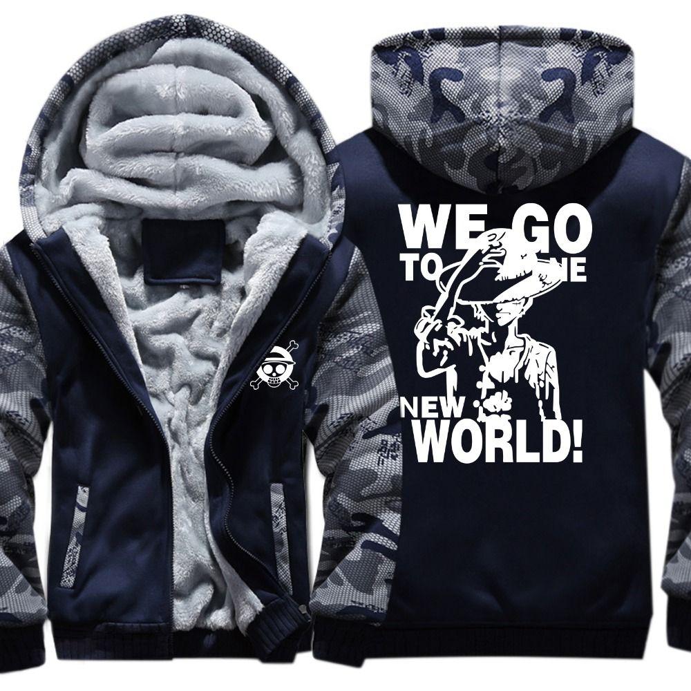 06bd0f2b652 2019 Hoodies Cartoon One Piece Hooded Hoodie Men Fleece Wool Liner  Camouflage Thick Zipper Jacket Sweatshirt Hoodie From Baimu