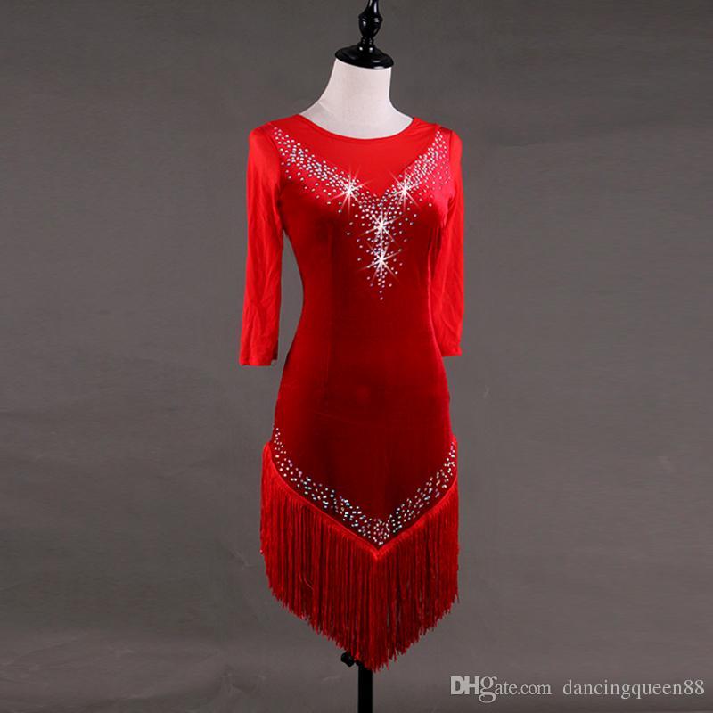 Latin Dance Dress Salsa Tango Cha cha Ballroom  Rhinestone Competition Dress 141