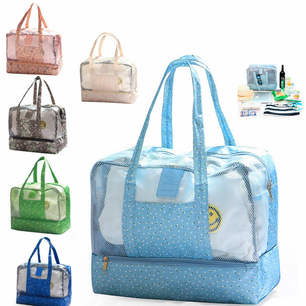 Waterproof Grid Wet Dry Separation Storage Bag Women Travel Swimming Printed Organizer Beach Shoulder Hand Bag Large Capacity 60pcs AAA850