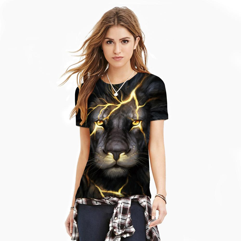 2018 New fashion 3D crack lion short-sleeved digital printing Slim men shirt sports breathable T-shirt men's round-collar bottom sweater