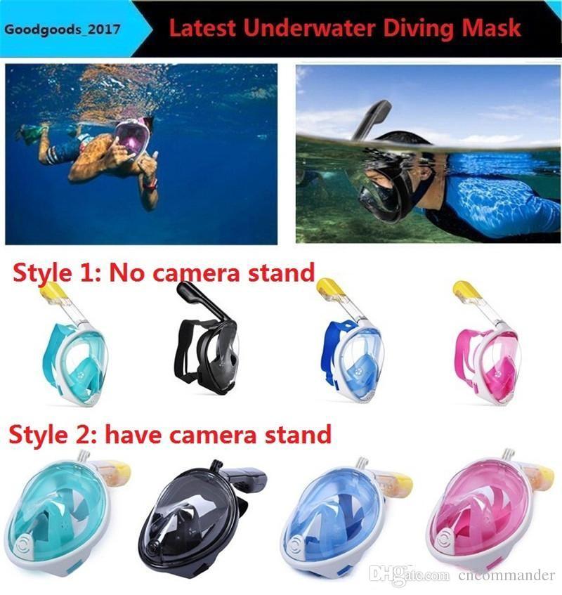 83520aff0 Compre Marca Máscara De Mergulho Submarino Conjunto De Snorkel Natação  Treinamento Scuba Mergulho Máscara De Mergulho Rosto Anti Fog No Camera  Stand De ...