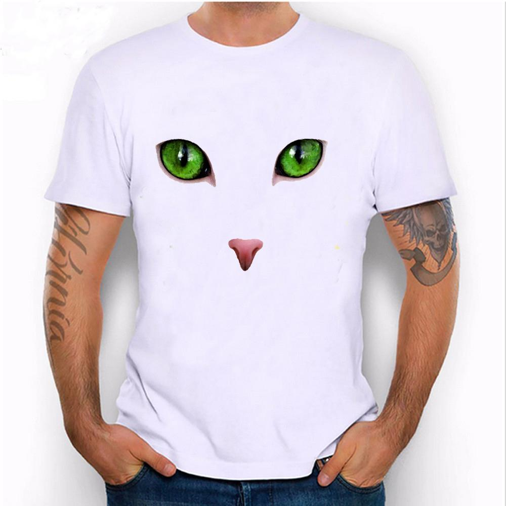 0890fa4d7 2017 New Summer Fashion Men'S Short Sleeve Cat'S Eyes T Shirt Sapphire  Color Casual Male Tops Harajuku Cool Hipster Boy Tees Quirky T Shirt  Awesome T Shirts ...