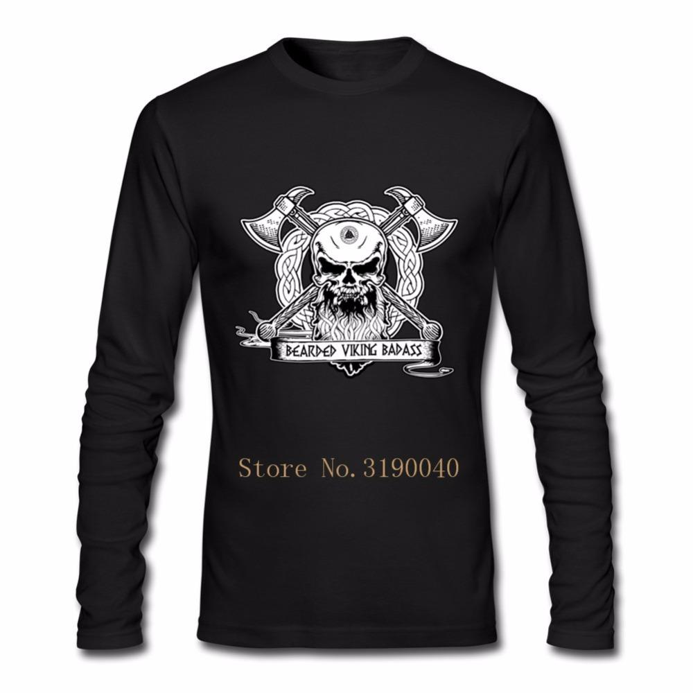 555e086f Funny T Shirts Bearded Viking Badass T Shirt Mechanic Skull Customized Male  Cotton Long Sleeve Clothes On Sale Hombre Funny Tees Tee Shirts Online Cool  Tee ...