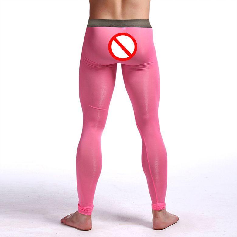 Sexy Men's Underwear Clothing Transparent Zentai Leggings Ballet Silk long johns Costumes Super stretch Nylon Spandex for Men
