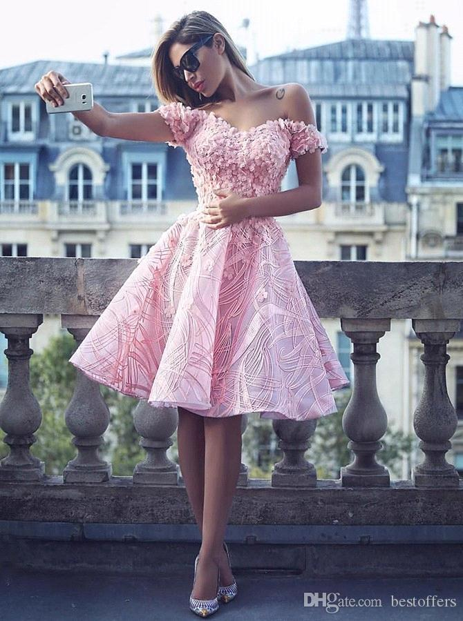 f99165b377cd Baby Pink Short Homecoming Dresses 2018 New Off The Shoulder A Line Knee  Length French Lace Cocktail Gowns 16 Girl Prom Dresses BA9471 Dress Online  Shop ...