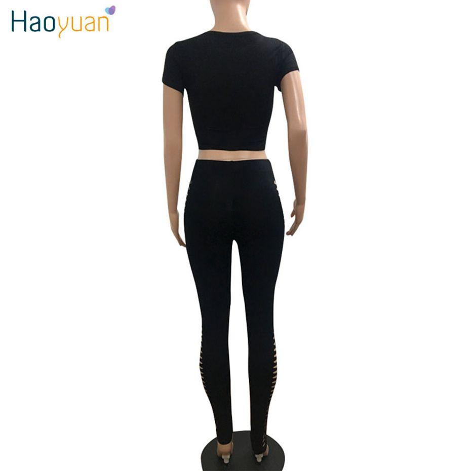 HAOYUAN Two Piece Sexy Jumpsuits Full Body Suit Summer Black Wine Red Overalls Cut Out Crop Top Bodycon Rompers Womens Jumpsuit
