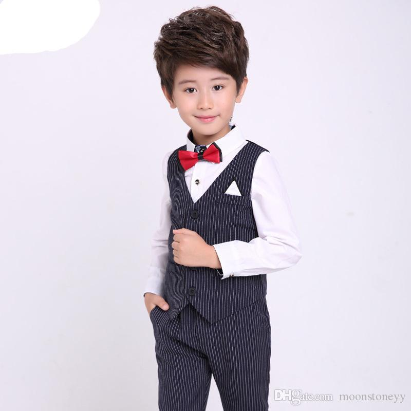 4707a8b4c 2019 Boys Spring Summer Formal Striped Suits Sets Children Wedding Party Dress  Clothing Sets Kids Vest Pants Performance Costume From Moonstoneyy, ...