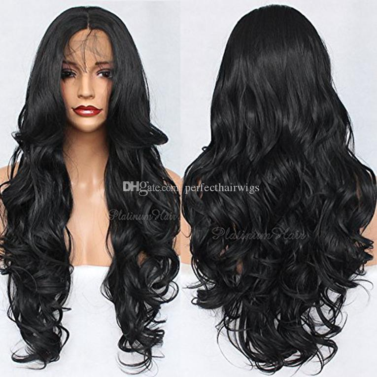 Synthetic Lace Front Wig Long Body Wave Beauty Synthetic Cheap Loose Wavy Wig Lace Front Black Hair Middle Part Style For Black Women