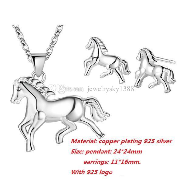 Fashion Women Jewelry Sets 925 Silver Plated Good Luck Elephant/Horse/Dolphin/Life Tree Earrings & Necklace Set Wedding Statement Jewelry