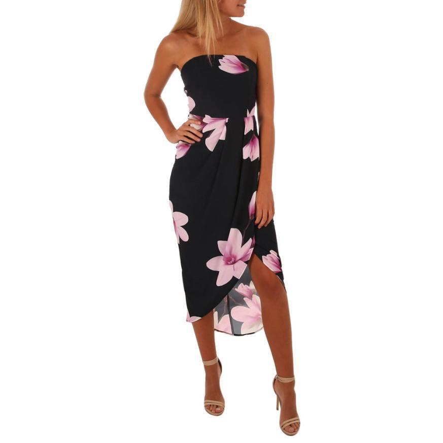 1f01b406031a Womens Strapless Dress Iirregular Tie Back Floral Curved Hem Boho Sundrss  2019 Summer Dresses Vestido #BF Short Cocktail Party Dresses Blue Dresses  Juniors ...