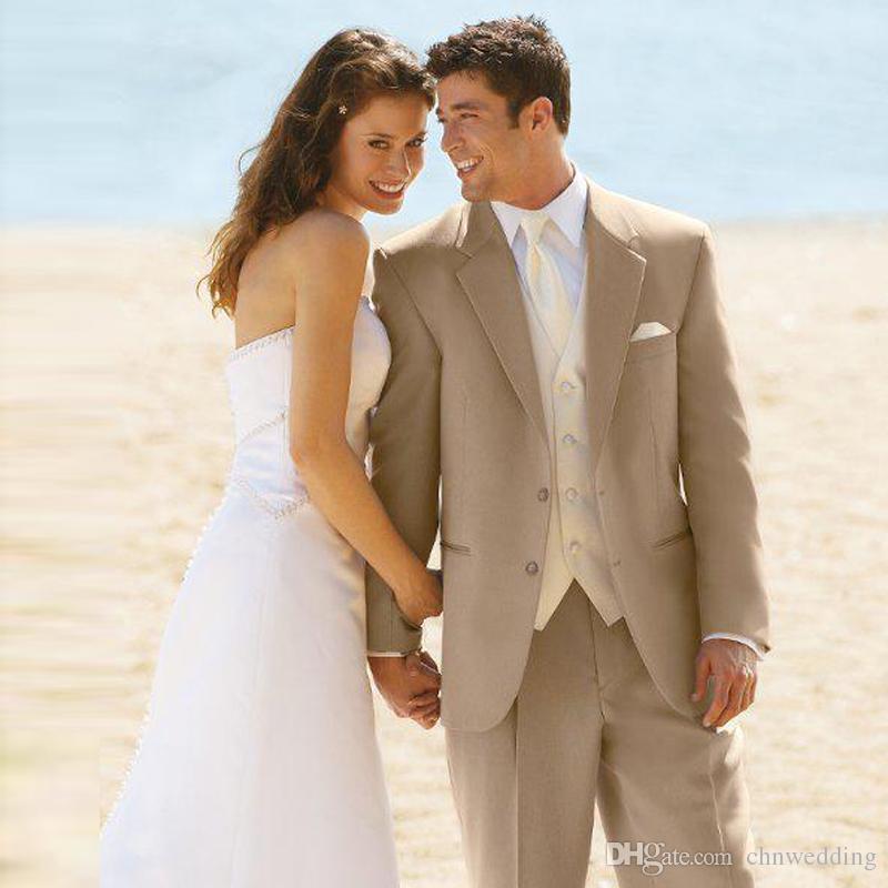 acheter beige beach mariage hommes costumes groom tuxedos 2 pi ces veste pantalon costumes. Black Bedroom Furniture Sets. Home Design Ideas