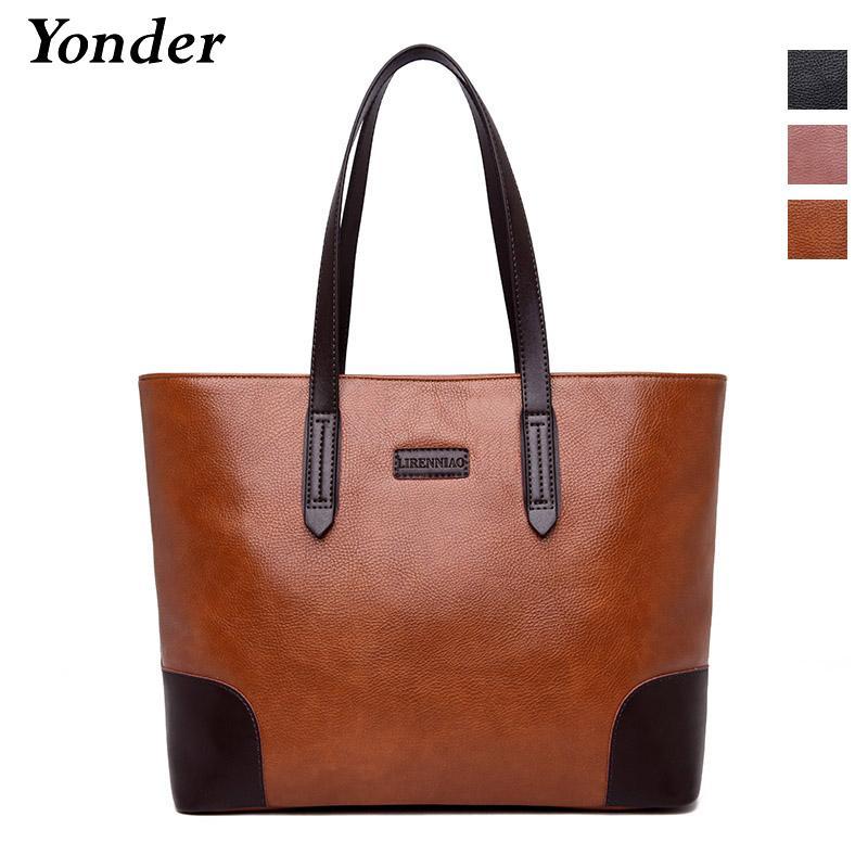 dee0d58e4446 Großhandel Yonder Brand New Retro Frauen Handtaschen Weibliche Umhängetasche  Damen Hohe Qualität Weiche Pu Leder Große Einkaufstasche Gelb   Lila    Schwarz ...