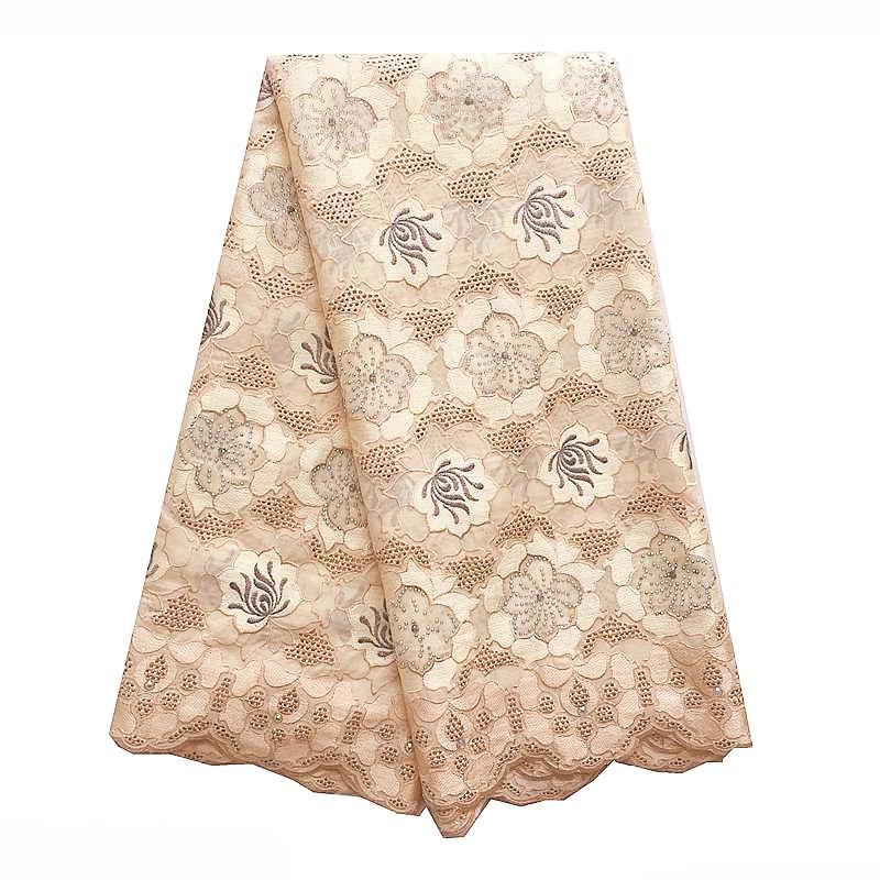 100% Quality Cotton Lace Swiss Voile Lace In Switzerland Cream White Embroidery Cotton Fabric Nigerian Voile African Lace 2018