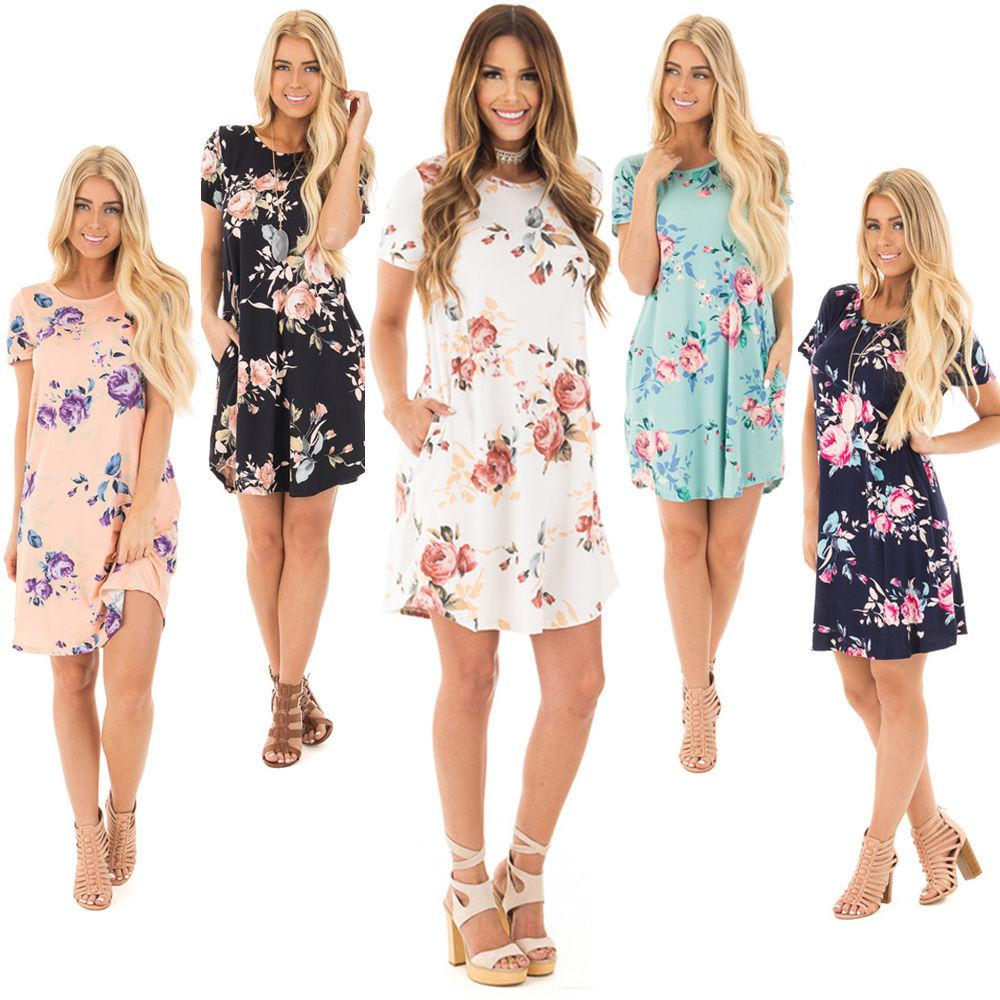 d429ac1ce6 Summer Women Casual Dress Casual Party Evening Short Mini Dresses Floral  Short Sleeve Summer Costume Pocket Round Neck Short Prom Dresses Semi Formal  ...