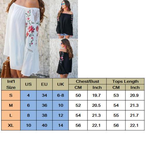 Yeni Moda kadın Bayanlar Boho Çiçek Uzun Kollu Kapalı Omuz Bluz Gömlek Giysileri Yaz Gevşek Pamuk Üstleri Gömlek Giyim