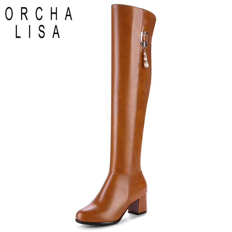 7a850874ce5 ORCHA LISA Top Quality Women Over The Knee Boots String Bead Autumn Winter High  Heel Boots Shoes Woman Riding Equestrain A758 Pumps Shoes Shoe Boots From  ...