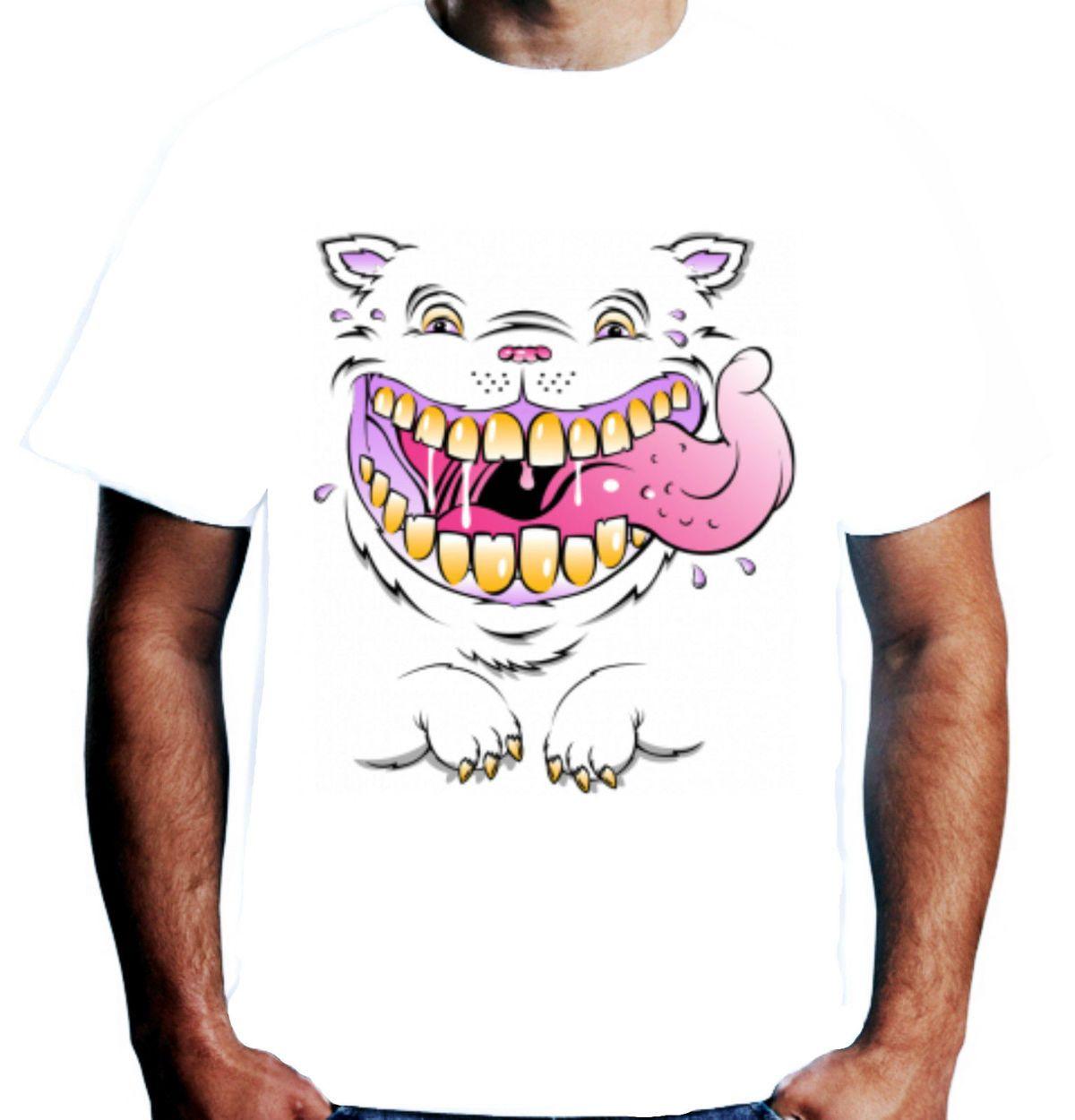 Velocitee Mens Grinning Cool Cat White T Shirt Feline Evil Cheshire
