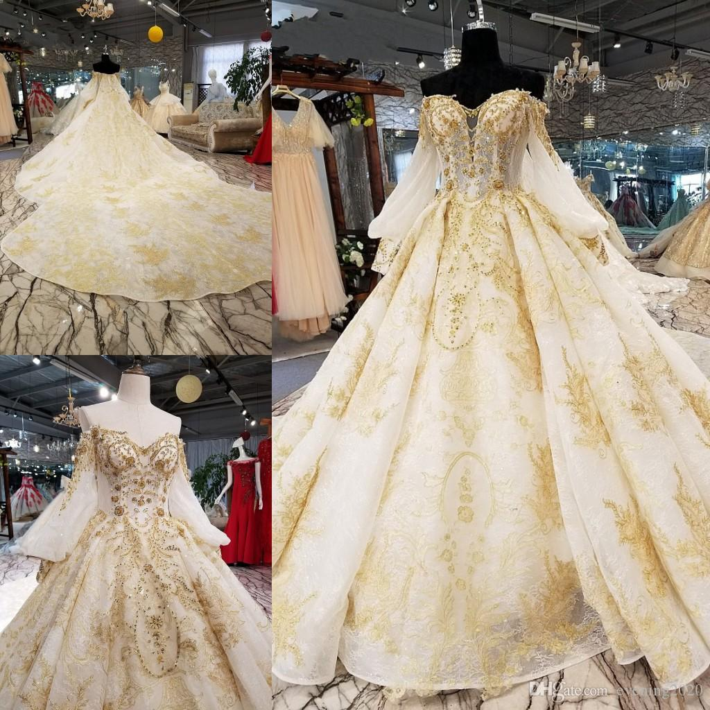 Gorgeous Ball Gown Wedding Dress Gold Appliques Lace Tiered Skirts Beaded Sequins Bridal Dresses Luxurious Gowns Cheap: Gold Applique Wedding Dress At Reisefeber.org