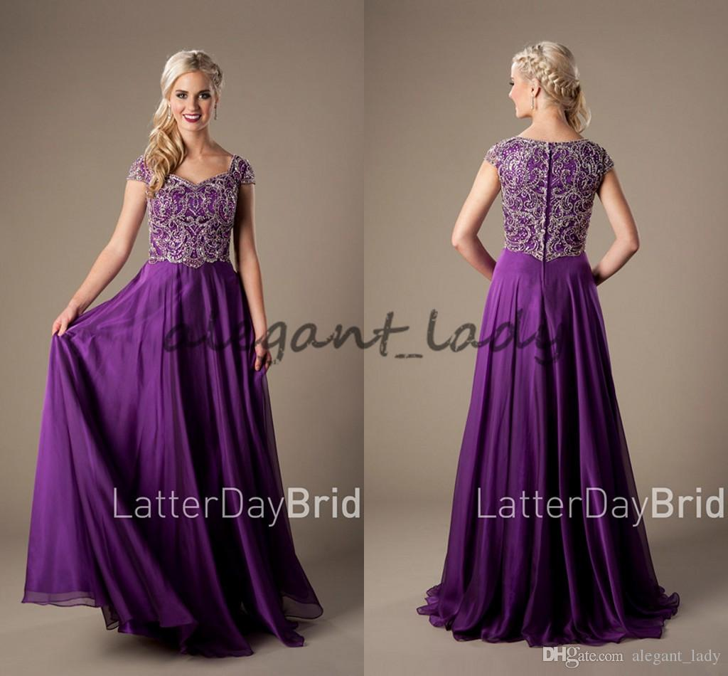 4f4bd01ca Sparkly Heavily Beaded Bodice Purple Long Modest Evening Dresses With Cap  Sleeves Floor Length Prom Dresses High Quality Plus Size Shoes For Prom  Short Red ...