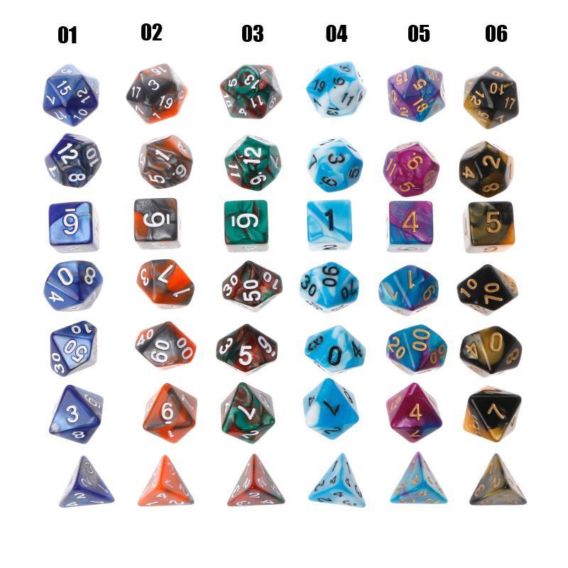 Wholesale Party 7pcs/Set Game Multi Sides D&D Dices D4 D6 D8 D10 D10% D12  D20 Game Playing Color Parties TRPG Gamer Dice 13 Colours