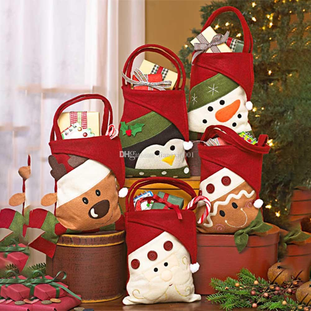 Christmas Gift Bags Santa Claus Kids New Year Banquet Gifts Holders ...