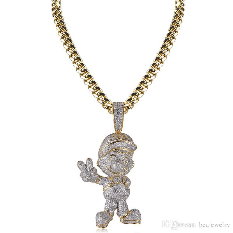 Wholesale Hip Hop Fashion AAA CZ Cubic Zircon Gold Super Mario Iced Out  Chain Pendant Necklace Hip Hop Jewelry Men White Gold Necklace Diamond  Pendant ... b05f3b301b90