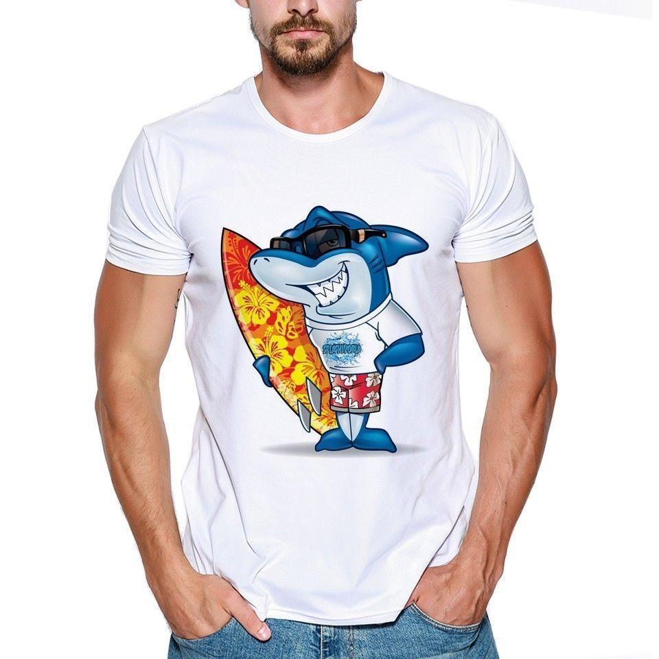 08509226995 Scary Animal Huge Shark Summer Sea Teeth Surfboard Funny Joke Men T Shirt  Tee Interesting Tee Shirts Shop For T Shirts From Amesion63