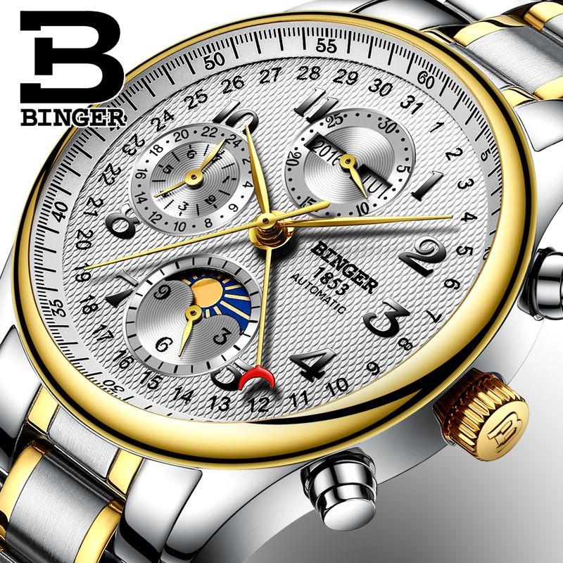 Suiza Binger Pulsera De Brand Calendar Mecánicos Reloj Para Funciones Múltiples Relojes Hombres Luxury Moon Sapphire Top Phase 8w0OnkP