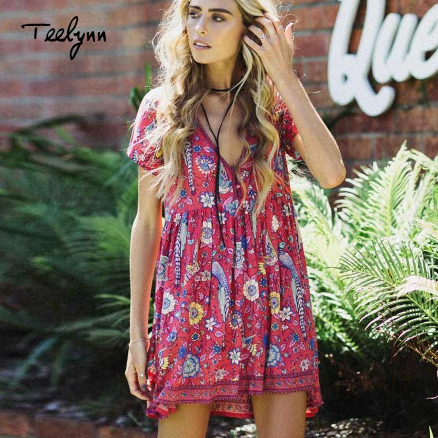1932b01905d7 2019 X907 Boho Dress RED Birds Floral Print Mini Dress V Neck Short Sleeve Women  Dresses 2018 New Summer Loose Style Bohemia Beach Dresses From Ruiqi03