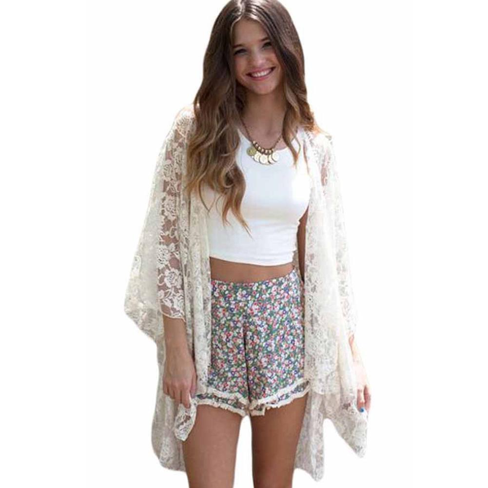 e3ac953027 2019 Women Lace Beach Top Swimsuit Cover Up See Through Cardigan Bikini  Shirt Tunic Bathing Suit Beachwear Black/White Summer Pareo From  Stephanie12, ...