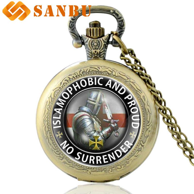 4c5ceeda8 Compre Classic Bronze Knight Templar No Surrender Reloj De Bolsillo De  Cuarzo Vintage Men Women Necklace Jewelry Gifts A $23.97 Del Wonderline2 |  DHgate.Com