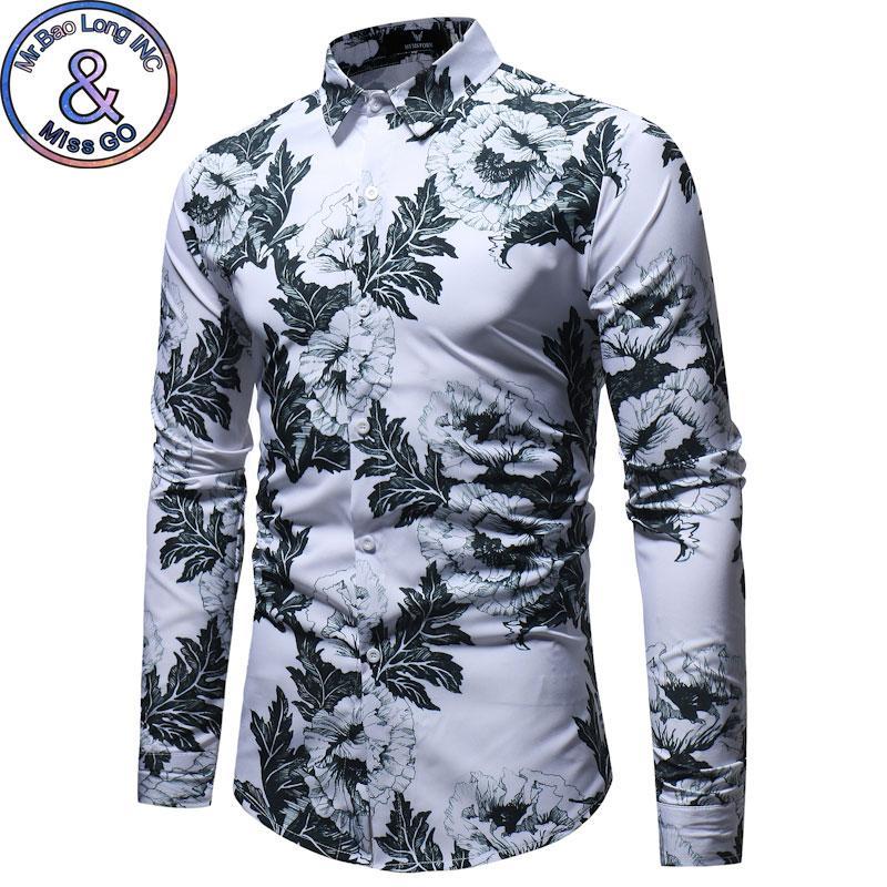 Compre Mens Slim Fit Camisa De Manga Longa 2018 Primavera Outono Nova Camisa  Floral Homens Plus Size Camisa Masculina Social Business Casual Camisas De  ... 1d85feef2c8ca