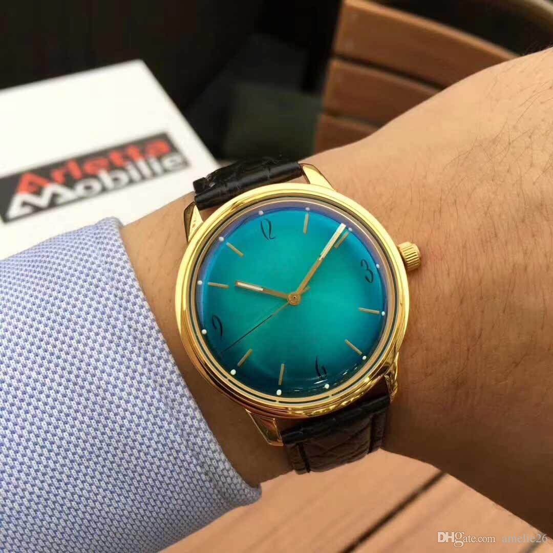 Nouvelle arrivée de haute qualité en acier inoxydable montres hommes automatique montres-bracelets en cuir pour homme horloge mécanique super cadeau