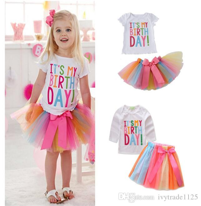 NEW girs tutu Birtyday dress Birthday Print T shirt + Rainbow Cake Skirt summer girl's set causal girl Rainbow Birthday sets kids girl dress