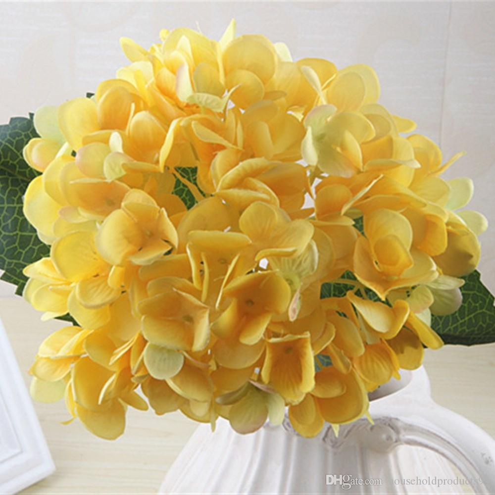 47cm Artificial Hydrangea Flower Head Fake Silk Single Real Touch Hydrangeas for Wedding Centerpieces Home Party Decorative Flowers