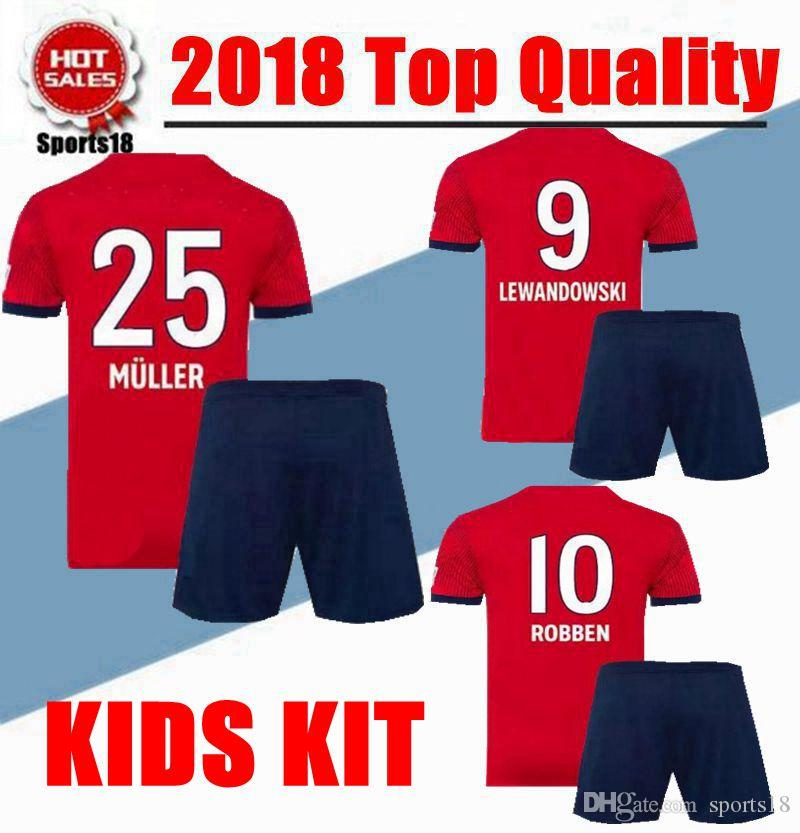 Kids Kit 2018 2019 JAMES VIDAL RIBERY GOTZE SANCHES LAHM Jerseys 18 ... 6e38af591