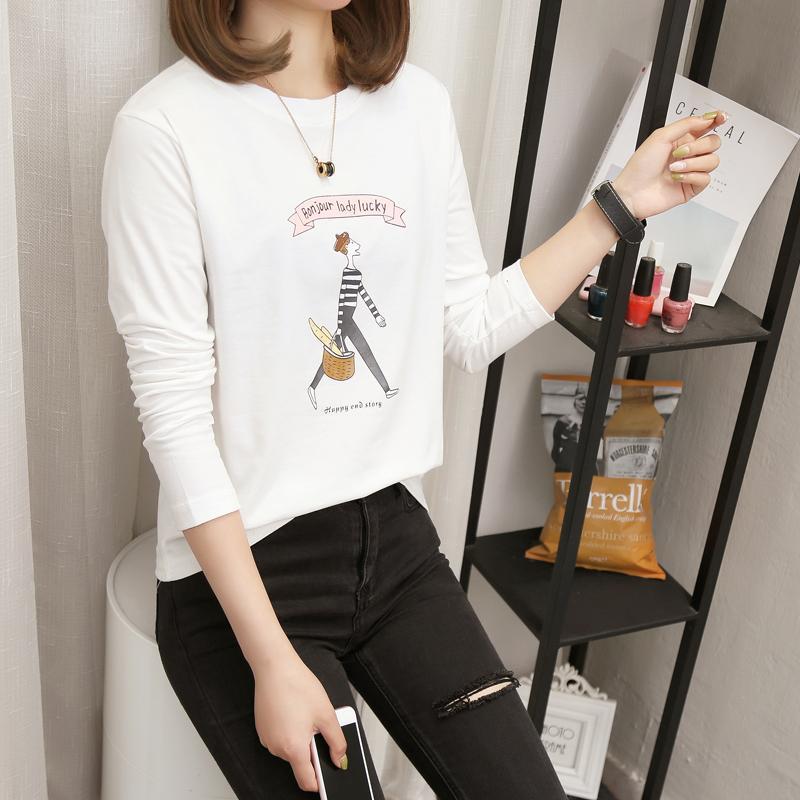 2a8b3d19 Plus Size 3XL 4XL 5XL thin cotton white T-shirt autumn Top for Women  Fashion Long Sleeve Loose Casual cartoon printed Tee Shirt